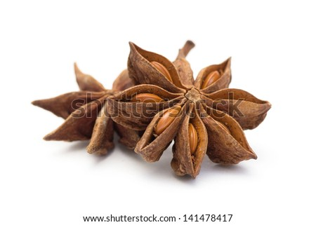 star anise isolated on white - stock photo