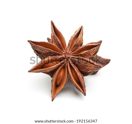 Star anise isolated on white background - stock photo