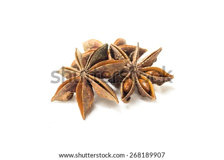 Star anise on a white background. - stock photo