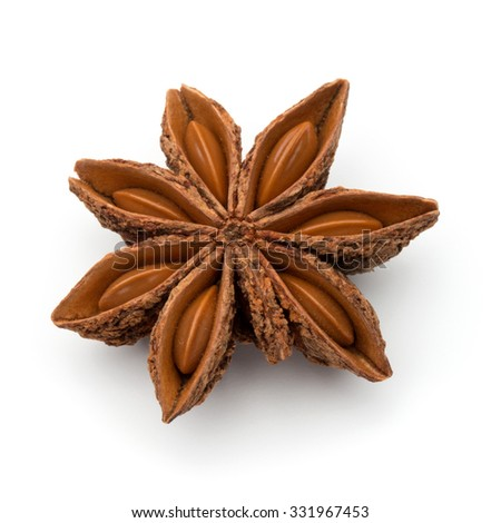Star anise spice fruit and seeds isolated on white background closeup - stock photo