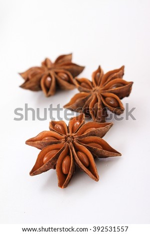 star anise spice in dish - stock photo