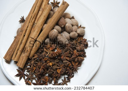 Star Anise with Cinnamon ingredients - stock photo