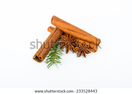 Star anise with cinnamon sticks and fir branches on a white background - stock photo