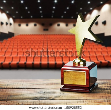 Star award for service to the background of the auditorium - stock photo