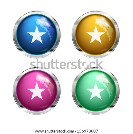 Star buttons: blue, yellow, pink and green - stock photo