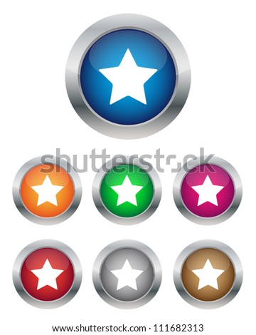 Star buttons. Vector available. - stock photo