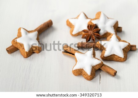 Star cookies with cinnamon sticks and anise stars - stock photo