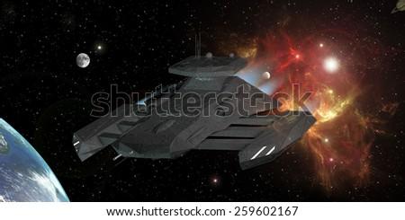 Star Destroyer in deep space 3d rendering - stock photo