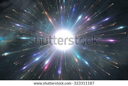 Star explosion with colorful particles, illustration - stock photo