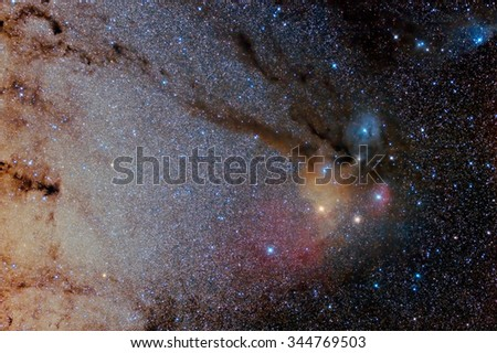 Star field and nebulae in  Rho Ophiuchus Captured with an amateur telescope - stock photo