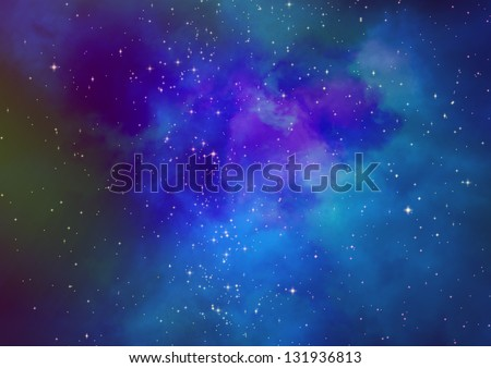 Star field in space and a gas congestion - stock photo