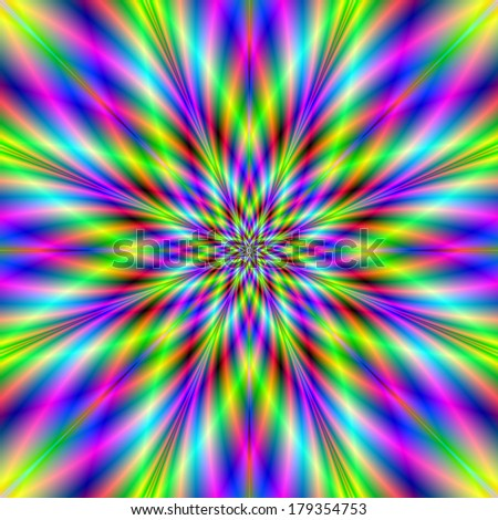 Star Fire / Digital abstract fractal image with a star design in red, yellow, green and blue. - stock photo