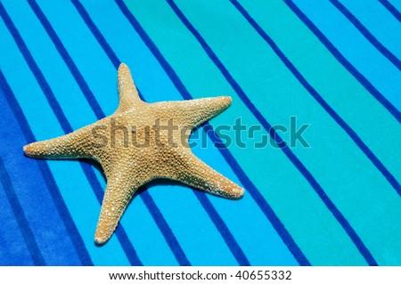 star fish on pretty striped beach towel - stock photo