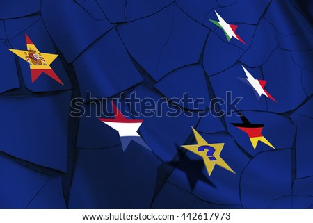 "Star flags of each countries in EU on a cracked wall after Brexit with a question ""Who will be the next?"" The consequences, challenges and opportunities facing Britain outside the European Union. - stock photo"
