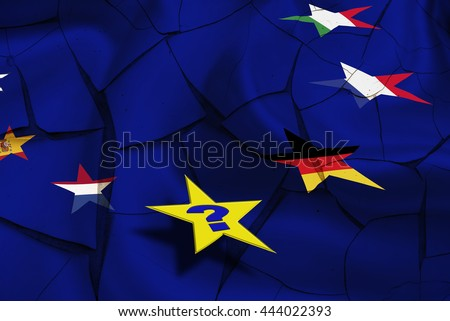 "Star flags of some countries in EU on a cracked wall with a yellow star and a question mark. Last Brexit could be a political contagion and questioned ""Who will be the next?"" - stock photo"