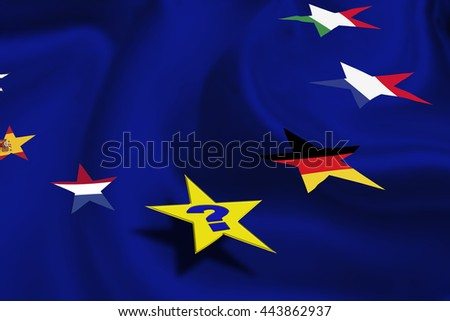 "Star flags of some countries in EU on azure background with a question ""Who will be the next?"" after ""Brexit"". The consequences, challenges and opportunities facing Britain outside the European Union. - stock photo"
