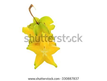 Star fruit isolated on white background. - stock photo