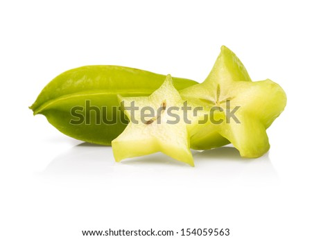 Star fruit or Carambola on white background - stock photo