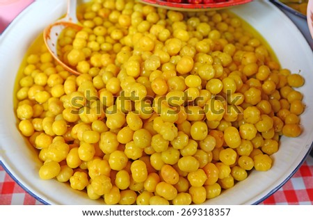 star gooseberry pickled by water salt and sugar - stock photo
