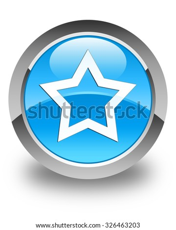 Star icon glossy cyan blue round button - stock photo