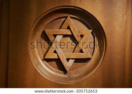 Star of David at Jewish Hebrew synagogue  - stock photo