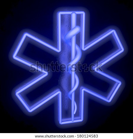 Star of Life, neon, fluorescent outline, from top, 3d rendering - stock photo