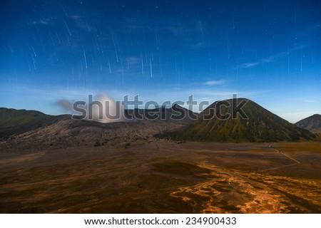 Star Rain over Volcano , Mount Bromo,Java,Indonesia  - stock photo
