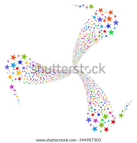 Star Salute Swirl Rotation glyph illustration. Style is bright multicolored flat stars, white background. - stock photo