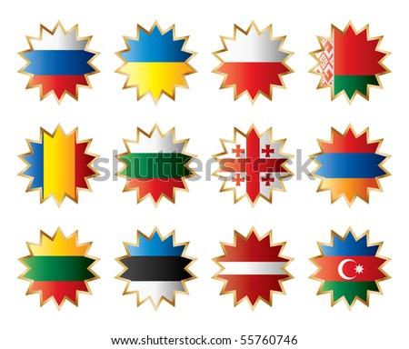 Star shape flags - Eastern Europe. JPEG version - stock photo
