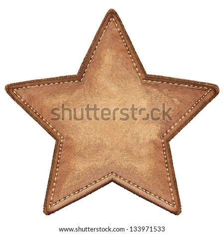 Star shape leather label, isolated - stock photo