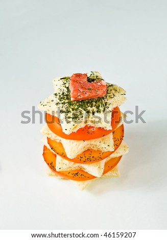 Star-shaped healthy tomato sandwich with sausage heart - stock photo