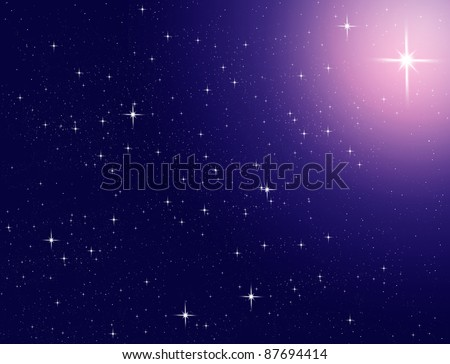 Star shine the light in the space - stock photo
