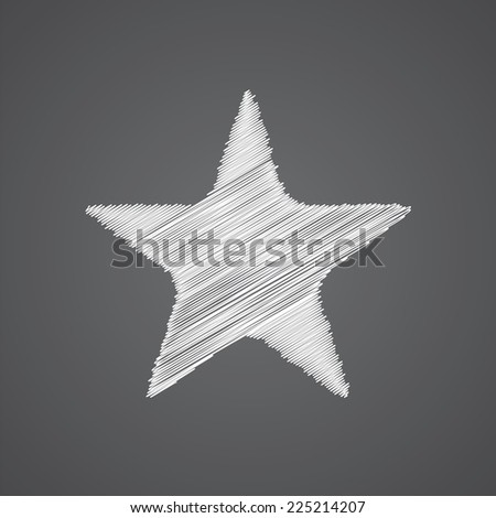 star sketch logo doodle icon isolated on dark background  - stock photo