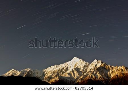 Star trail night sky - stock photo