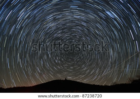 Star trails above Brasstown Bald, the highest elevation in the state of Georgia, USA. - stock photo