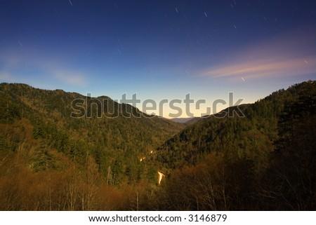 Star Trails over Morton Overlook - stock photo