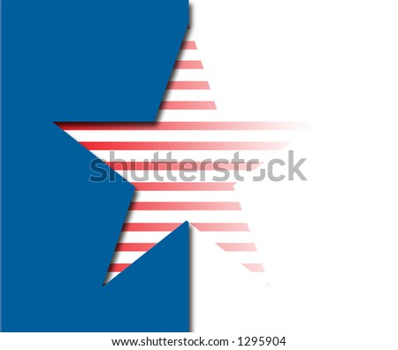 Star with blue, red and white stripes - stock photo
