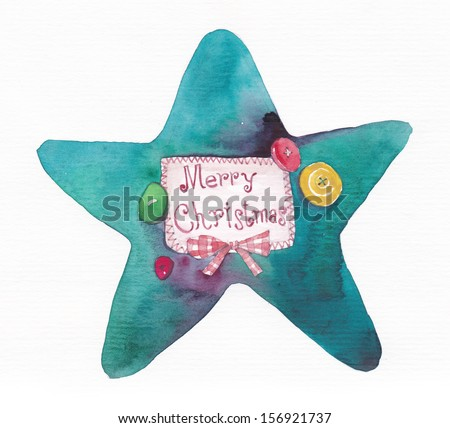 "Star with card ""Merry Christmas"" - stock photo"