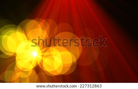 star with lens flare and bokeh effect made in 3d software - stock photo