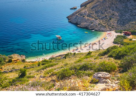 Stara Baska beach, Croatia - stock photo