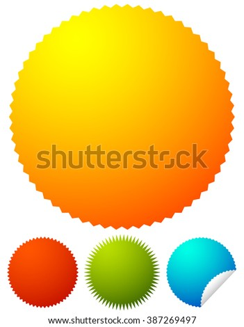 Starburst shapes, badges. Colorful price tags, price flashes w/ blank space. - stock photo
