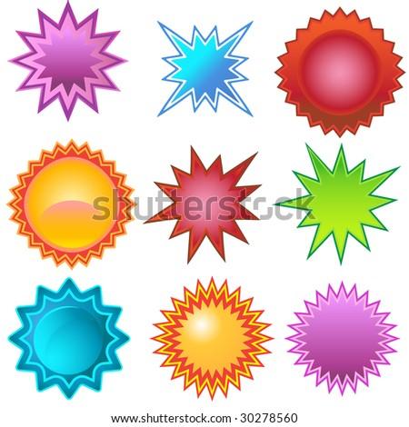Starburst Stickers - stock photo