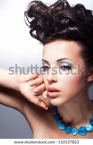 Stare. Beautiful sensual woman gazing. Fashion style. Bright posh coiffure and make-up - stock photo