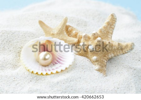starfish and shells with pearls on the white sand - stock photo