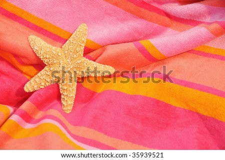 Starfish, Sea Star on striped towel room for your copy - stock photo