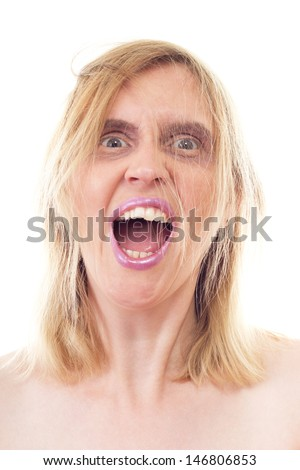 Stark mad woman shouting very loud - stock photo