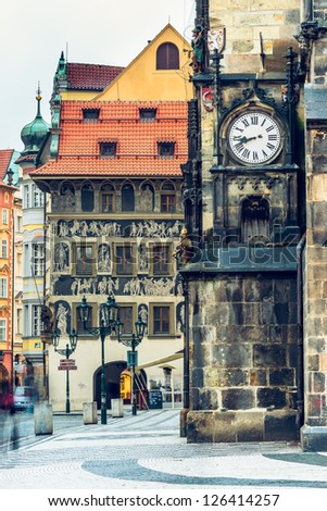 Staromestske namesti street and Old Town Hall wall in Prague, Czech - stock photo