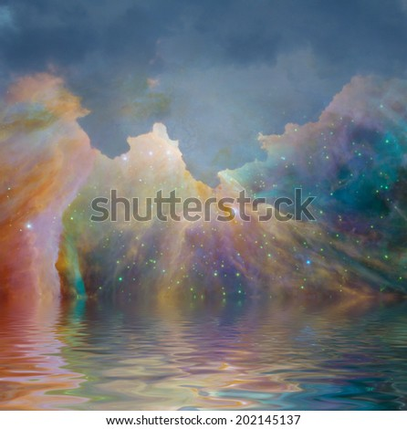 Starry filled sky and water Elements of this image furnished by NASA - stock photo
