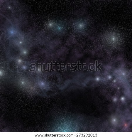 Starry night cosmic view, glowing nebula in outer space - stock photo