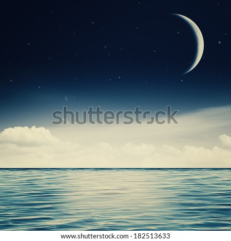 Starry night on the ocean, abstract environmental backgrounds - stock photo